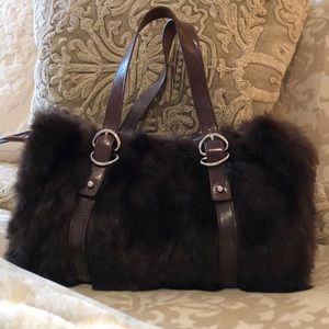 Kenneth Cole genuine rabbit and leather handbag